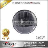 7in round headlight 30W LED Headlight dual beam with H4 plug For Jeep Wrangler JK CJ LJ TJ DRL headlight replacement