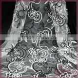 Black/white flower embroidery design mesh fabric lace, embroidered sequin fabric for dress