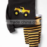 Boys pajama set with monster truck embroidered top and striped pant