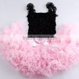 Hot sale pink and black pettiskirt Birthday Pettiskirt Set baby girl Petti skirt princess dress chiffon skirt Tutu skirt