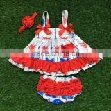 little girls boutique clothing sets infant baby swing top with ruffle bloomer July 4th swing top with headband
