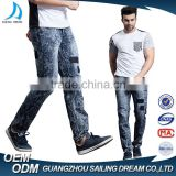 2017 new style navy blue snow dirty wash slim fit mens jeans pants
