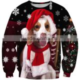 black dog Christmas unisex 3D printed snowflake sweatshirts/blue na plus size 3d fashioable Christmas hoodies without hood