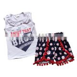 cheap kids clothes clothing china sleeveless ruffle bib t-shirts match baseball print shorts pom pom outfit clothes children