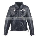 HMB-0292B WOMEN LEATHER JACKETS MOTORBIKE ROSE FASHION COATS