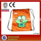 Cartoon LOGO Printed Orange Nylon Drawstring Bag