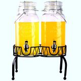 2PC ICE CLOD DRINK GLASS BEVERAGE DISPENSER WITH RACK