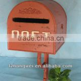 Hongwei Handmade Antique Vintage Orange Wooden Post Box/Mailbox/Letter Box for Home&Garden Decor,Free Standing or Wall Mounted