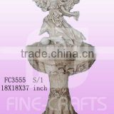 Polyresin angel statue garden floor fountain
