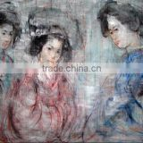 Hot sale high quality low price japanese women oil painting