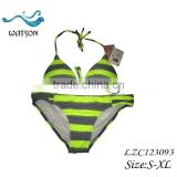 Bright Green /Grey Sexy Stripes Swimwear