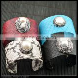 LFD-B0017 Wholesale Fashion Mixed Color Snakeskin with Pearl Pave Crystal Rhinestone Bangles Jewelry Finding