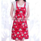 Red short cotton waist apron , heat protective apron