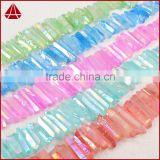 Clear aura quartz gemstone aqua aura quartz crystal point loose beads strand