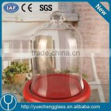 clear glass cake stand and dome and red color glass roof cake dome