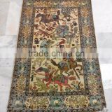 Wholesale beautiful hand knotted rugs handmade pure silk carpet from Jaipur India hunting design