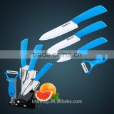 "Gift Set of Ceramic kitchen knife/Knife set in blue color handle, 3""+4 ""+5 ""+Ceramic peeler +Acrylic holder"