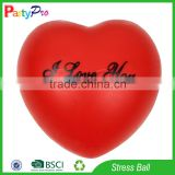 Partypro China Manufactory Free Sample Toys Wholesale Custom Logo Red Heart Shape Stress Balls
