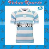 Stripe custom rugby jersey with tackle twill