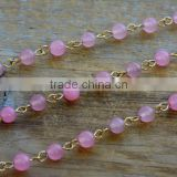 Gemstone Bead Chain Round PINK Jade Bead Chain 6mm Gemstone Bead Gold Wire Necklace Bracelet Chain Jewelry Making Supplies