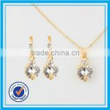Dubai 18k white gold necklace jewellery set real cubic zirconia brass jewelry set