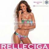 RELLECIGA Digital Floral Print Bikini Series - Longline Bandeau Top & Sexy Side Ruching Bottom Bikini Swimwear