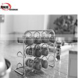 SINOGLASS trade assurane 80ml stainless steel lid wire rack 12 glass jars bottle spice rack set