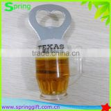 custom logo cup shape beer bottle opener with magnet oil input
