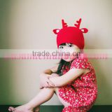 Top quality children antler fabric knitting cony rabbit hair christmas hat for baby