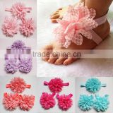 Newest Infant Toddler Lace Peony Flower Elastic Flat Feet Barefoot Sandals Shoes Headband                                                                         Quality Choice