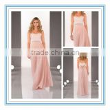 New Arrival Strapless Long Elegant Bridesmaid's Gown/Dress Sweetheart Peach Chiffon A-Line Bridesmaid Dress 2015(SRLV-8424)
