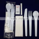 Disposable Plastic Cutlery Kit Disposable Plastic Cutlery Set Spoon Fork Knife salt/pepper Napkin Toothpick                                                                         Quality Choice