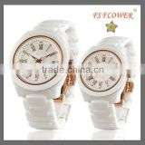 Fashion Ceramic Watch Sapphire Crystal Ceramic Watch Japan Movt 3 ATM Butterfly Cuckle Couple Watch