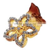 Hot Sale Changeable Starfish Shape Flower Hair Clamp Crystal Jewelries Plastic Rhinestone Flower Amber Hair Barrette For Women