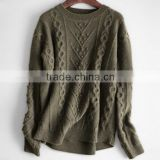 BGA15066 Round neck cable knitting long sleeve pullover mongolian cashmere sweater