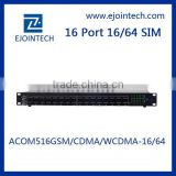 16 Ports 64sim gsm voip gateway newest products with auto recharge 8 sim cards gsm gateway pbx