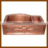 Double drainer double bowl hand hammered copper kitchen sink