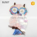Factory custom large bird owl sequin applique for girl clothing