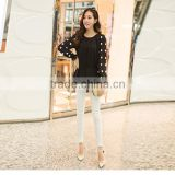 OEM lady sexy loose rose red and black chiffon dot round collar long petal sleeve blouse