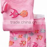 girls pink cute fish pattern pajamas sets baby cotton short sleeve sleep wear summer pyjamas