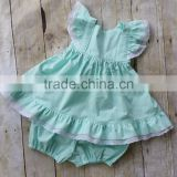 New Coming Baby Clothes Outfit Baby Girls Soild Lace Ruffle Dress Short Design 2 Pieces Children Set