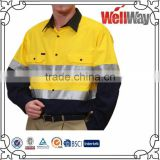 Long sleeve mens hi vis two tone work shirt