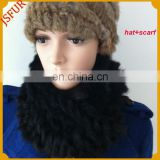 2015 new design women rabbit fur hat scarf neckwear with 100% real rabbit fur