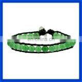 new 2014 Peridot Beaded Double Leather Wrap Bracelet&Button TPCL144#