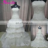 New arrival Tiered Lace Appliqued wedding dress real sample
