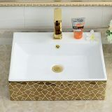 Modern design ceramic golden gilding basin