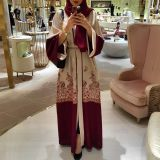 2018 Shanel New stylish Women Muslim Abaya Printing Floral Coat Cardigan Leisure Long Dress Red Color