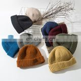 Autumn Winter Men's Beanie 2021 Hip-hop Female Knitted Skullcap Sailor Hat Cuffs Retro Short Hat Solid Color