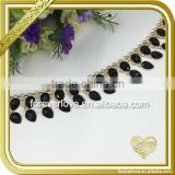 Black jewelry empty cup chain rhinestone bridal trimmings raw brass chain FC639                                                                                                         Supplier's Choice