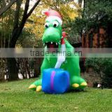 Arrival lovely Merry Christmas decorative inflatable Christmas dinosaur with led light for sale